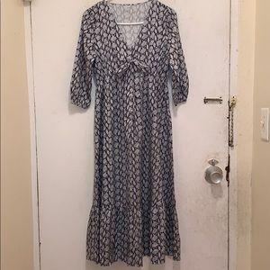 🆕 Front Tie Detail Ruffle Hem Midi Dress